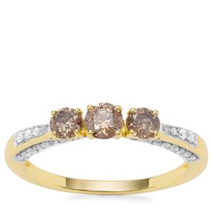 Champagne Diamond Ring with White Diamond in 9K Gold 0.81ct
