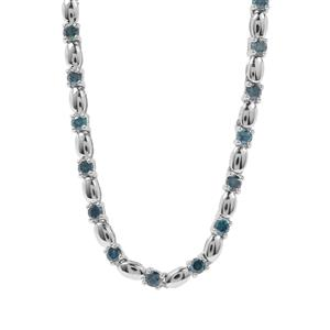 Blue Diamond Necklace in Sterling Silver 2ct
