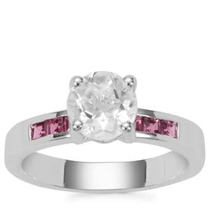 Itinga Petalite Ring with Oyo Pink Tourmaline in Sterling Silver 1.39cts