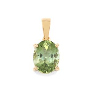 Congo Mint Tourmaline Pendant in 18K Gold 2.46cts