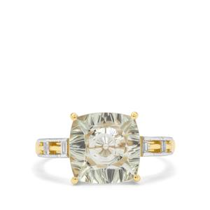Lehrer Quasar Cut Prasiolite & White Zircon 9K Gold Ring ATGW 3.35cts
