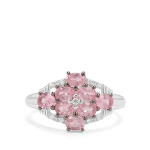 Mozambique Pink Spinel & White Zircon Sterling Silver Ring ATGW 1.55cts
