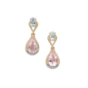 Cherry Blossom™ Morganite, Aquaiba™ Beryl Earrings with Diamond in 9K Gold 1.85cts