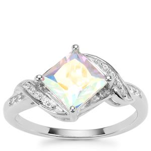 Mercury Mystic Topaz Ring with White Zircon in Sterling Silver 2.18cts