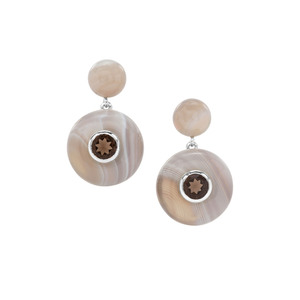 Grey Agate Earrings with Smokey Quartz in Sterling Silver 30.75cts