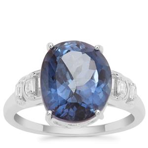 Hope Topaz Ring with White Zircon in Sterling Silver 6.77cts
