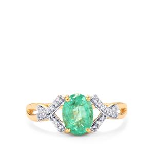 Ethiopian Emerald Ring with Diamond in 18K Gold 1.53cts