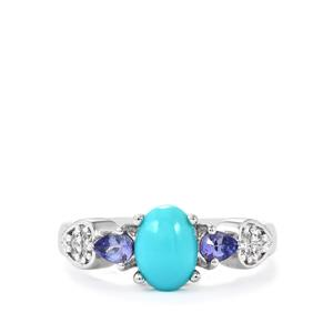 Sleeping Beauty Turquoise ,White Zircon Ring with Tanzanite in Sterling Silver 1.47cts