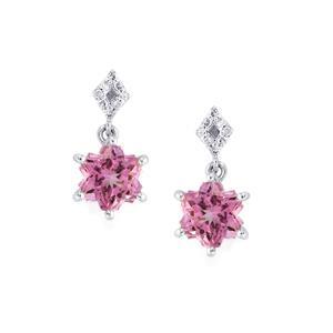Minas Gerais Topaz Wobito Snowflake Earrings with Diamond in 10k White Gold 3.14cts