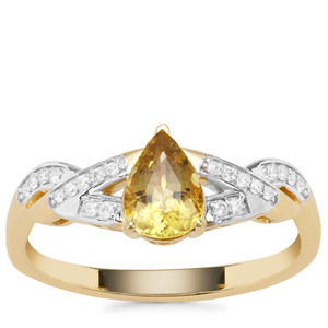 Cuprian Tourmaline Ring with Diamond in 18K Gold 0.74ct