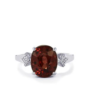 Bekily Color Change Garnet Ring with Diamond in Platinum 950 6.56cts