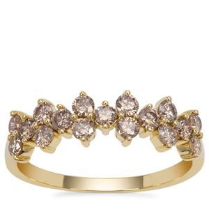 Champagne Argyle Diamond Ring in 9K Gold 0.76ct