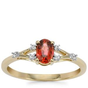 Mahenge Red Spinel Ring with White Zircon in 9K Gold 0.61ct