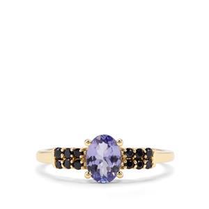 AA Tanzanite & Ceylon Blue Sapphire 9K Gold Ring ATGW 0.97cts