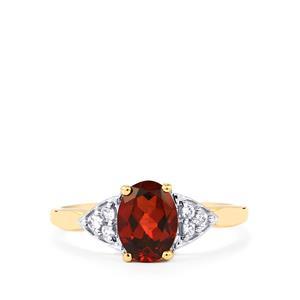 Rajasthan Garnet & White Zircon 10K Gold Ring ATGW 1.45cts