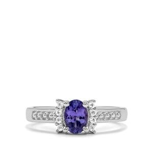 AA Tanzanite Ring with White Topaz in Sterling Silver 0.72ct