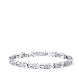White Zircon Bracelet in Sterling Silver 4.78cts