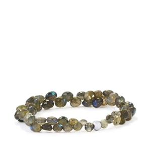 Labradorite Graduated Bead Bracelet with Silver Ball in Sterling Silver 62cts
