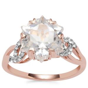 Wobito Snowflake Cut Cullinan Topaz Ring with White Topaz in 9K Rose Gold 5.55cts