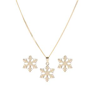 9K Gold Snowflake Set of Earrings and Necklace 1.31g