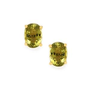 1.52ct Cuprian Tourmaline 9K Gold Earrings