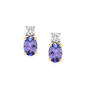 AA Tanzanite Earrings with White Zircon in 10K Gold 1.51cts