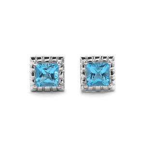 4.06ct Swiss Blue Topaz Sterling Silver Cufflinks