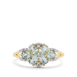 Aquaiba™ Beryl & Diamond 9K Gold Ring ATGW 0.95ct