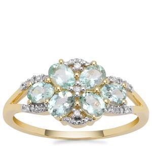 Aquaiba™ Beryl Ring with Diamond in 9K Gold 0.95cts