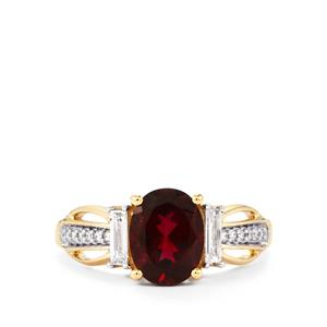 Cruzeiro Rubellite Ring with Diamond in 14K Gold 1.96cts