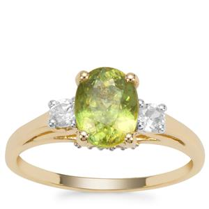 Ambilobe Sphene Ring with White Zircon in 9K Gold 2.26cts
