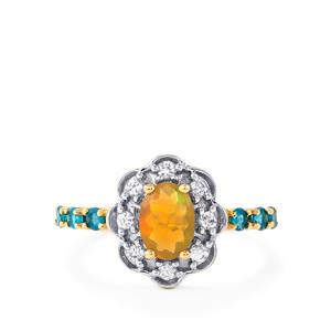 Ethiopian Opal, Neon Apatite & White Zircon 9K Gold Ring ATGW 1cts
