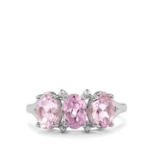 Minas Gerais Kunzite Ring with White Zircon in Sterling Silver 3.70cts
