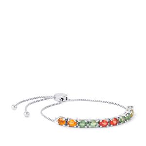 Rainbow Sapphire Slider Bracelet in Platinum Plated Sterling Silver 4.99cts