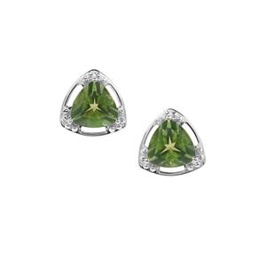 Fern Green Quartz Earrings in Sterling Silver 3.27cts