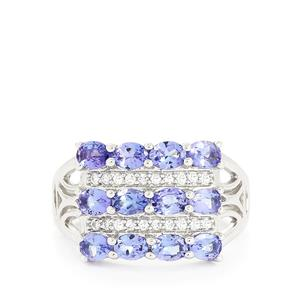 AA Tanzanite & White Topaz Sterling Silver Ring ATGW 2.44cts