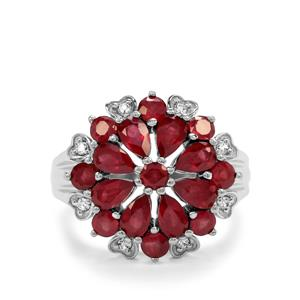 Malagasy Ruby & White Zircon Sterling Silver Ring ATGW 4.27cts (F)