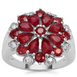 Malagasy Ruby Ring with White Zircon in Sterling Silver 4.27cts (F)