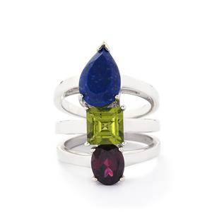 Rajasthan Garnet, Changbai Peridot & Sar-i-Sang Lapis Lazuli Sterling Silver Set of 3 Ring ATGW 6.58cts