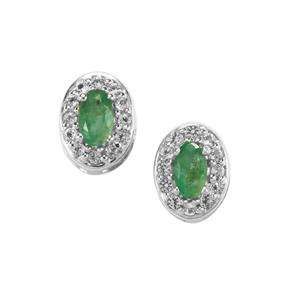 Carnaiba Brazilian Emerald Earrings with White Topaz in Sterling Silver 0.74ct