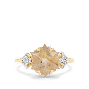 Wobito Snowflake Cut Bahia Rutilite & Diamond 9K Gold Ring ATGW 4.30cts
