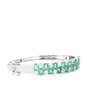 Zambian Emerald Oval Bangle with White Topaz in Sterling Silver 11.19cts