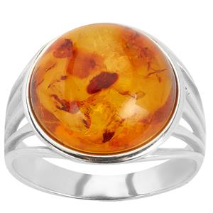 Baltic Cognac Amber  (14x14mm)  Sterling Silver Ring