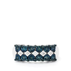 1/5ct Blue & White Diamond Sterling Silver Halo Diamonds Ring
