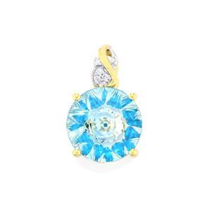 Lehrer KaleidosCut Sky Blue Topaz, Neon Apatite & Diamond 10K Gold Pendant ATGW 5.92cts