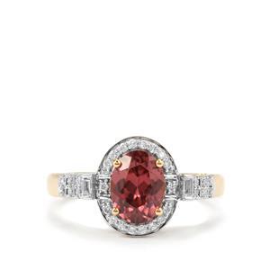 Zanzibar Zircon Ring with Diamond in 18K Gold 2.05cts