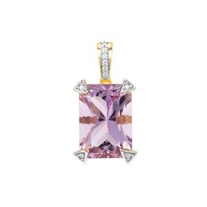 Barion Cut Ametista Amethyst Pendant with White Zircon in Gold Plated Sterling Silver 6.83cts