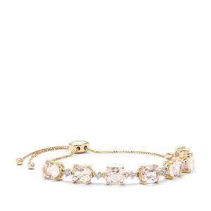 Alto Ligonha Morganite Slider Bracelet with White Zircon in 9K Gold 7.74cts