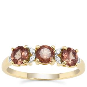 Bekily Colour Change Garnet Ring with White Zircon in 9K Gold 1.36cts