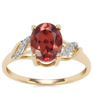Zanzibar Sunburst Zircon Ring with Diamond in 9K Gold 2.68cts